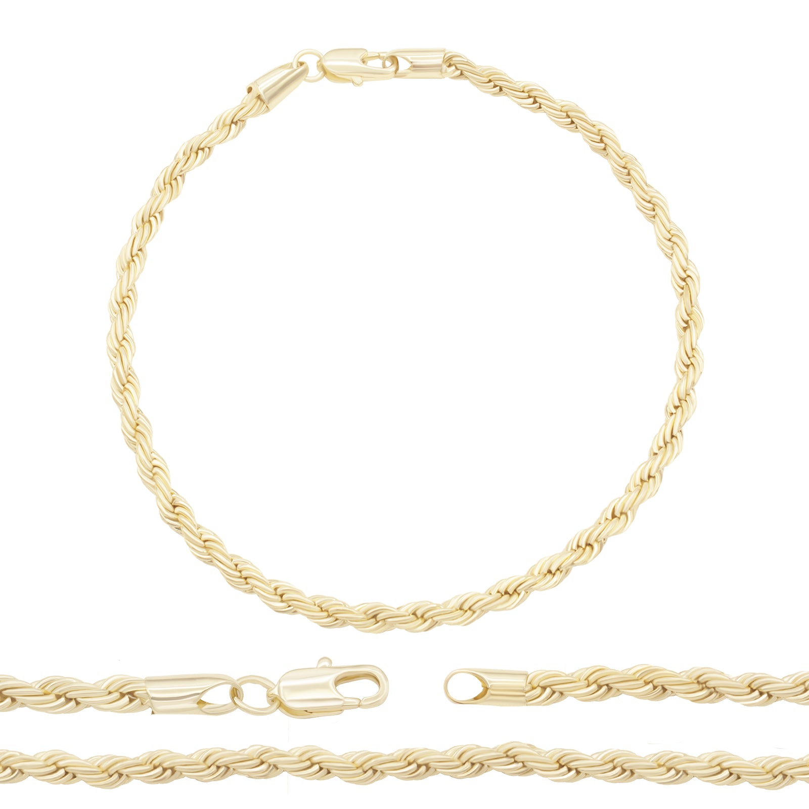 Rope Chain Anklet Bracelet Gold Filled 14KT Foot Chain Fashion Jewelry Gifts for Women Teen Girls 9.5'' Long