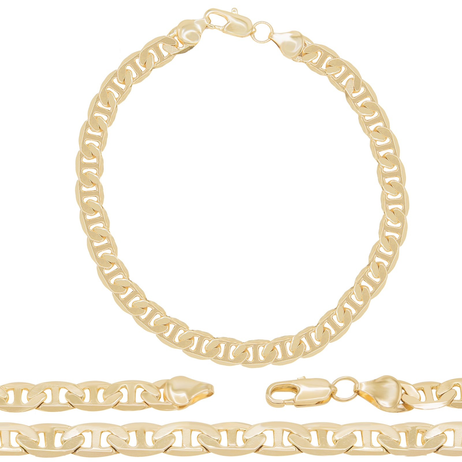 "Mariner Chain Anklet Foot Anklet Bracelet 14K Gold Filled Fashion Jewelry Wide 10"" Long"