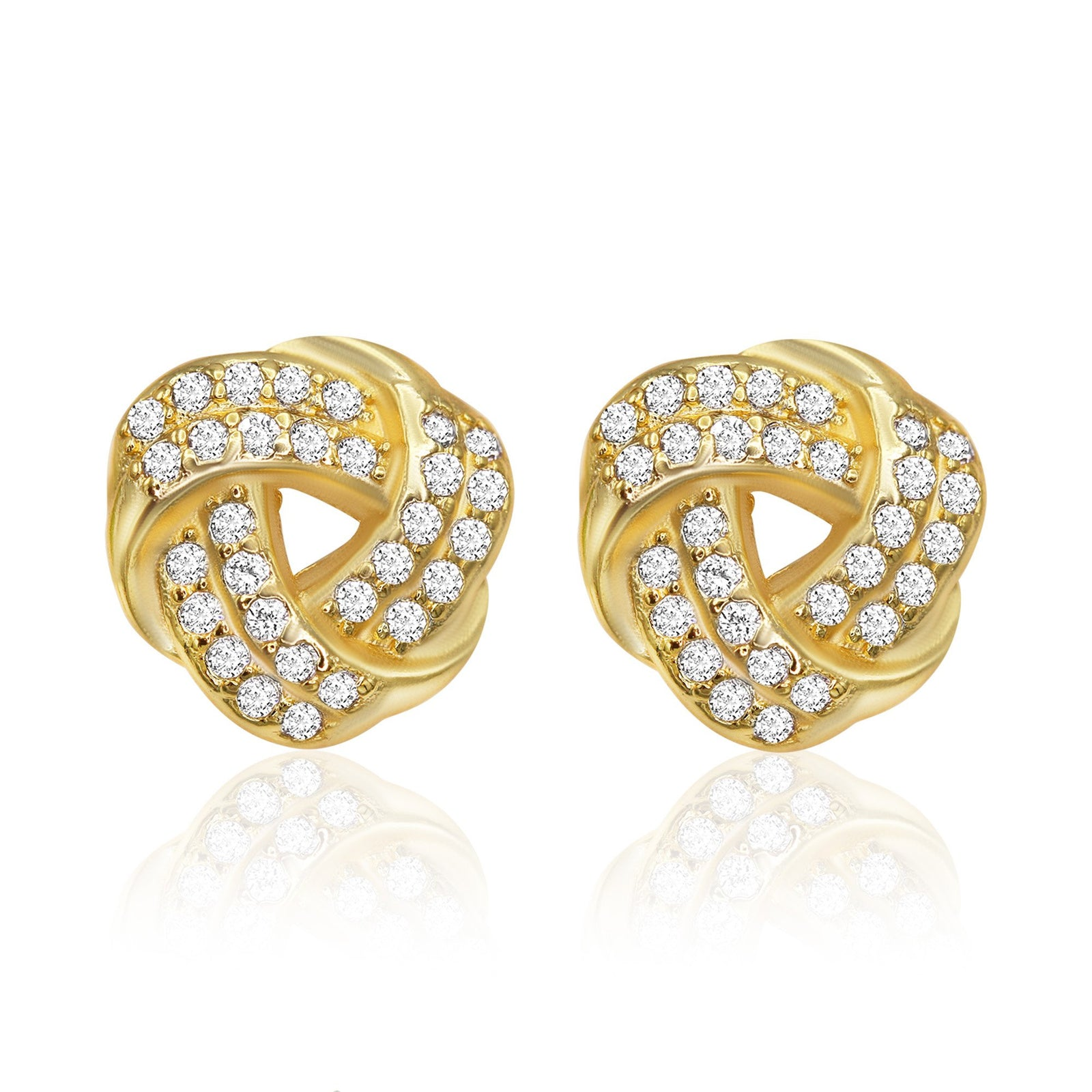 Trinity Celtic Knot Stud 14K Gold Plated CZ Stud Earrings Cubic Zirconia Ear Piercing Fashion Jewelry
