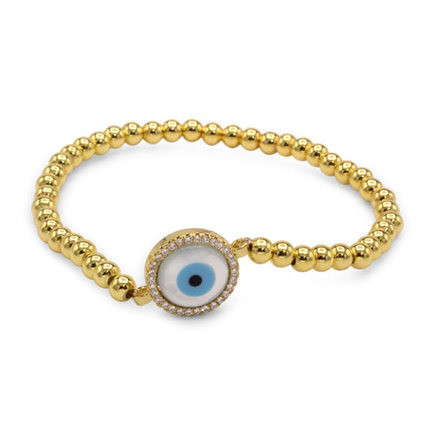 Evil Eye Brass Circle Charm Bracelet