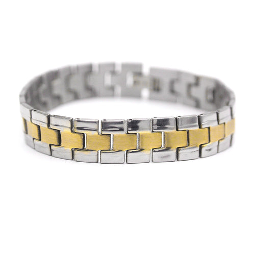 Decorative Men's Stainless Steel Bracelet Fashion Wrist Band (Silver/Gold)