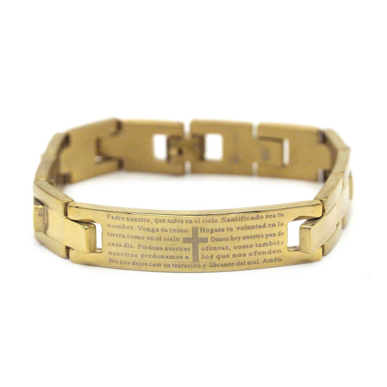 Decorative Men's Stainless Steel ID Bracelet Lord's Prayer en Español (Gold)