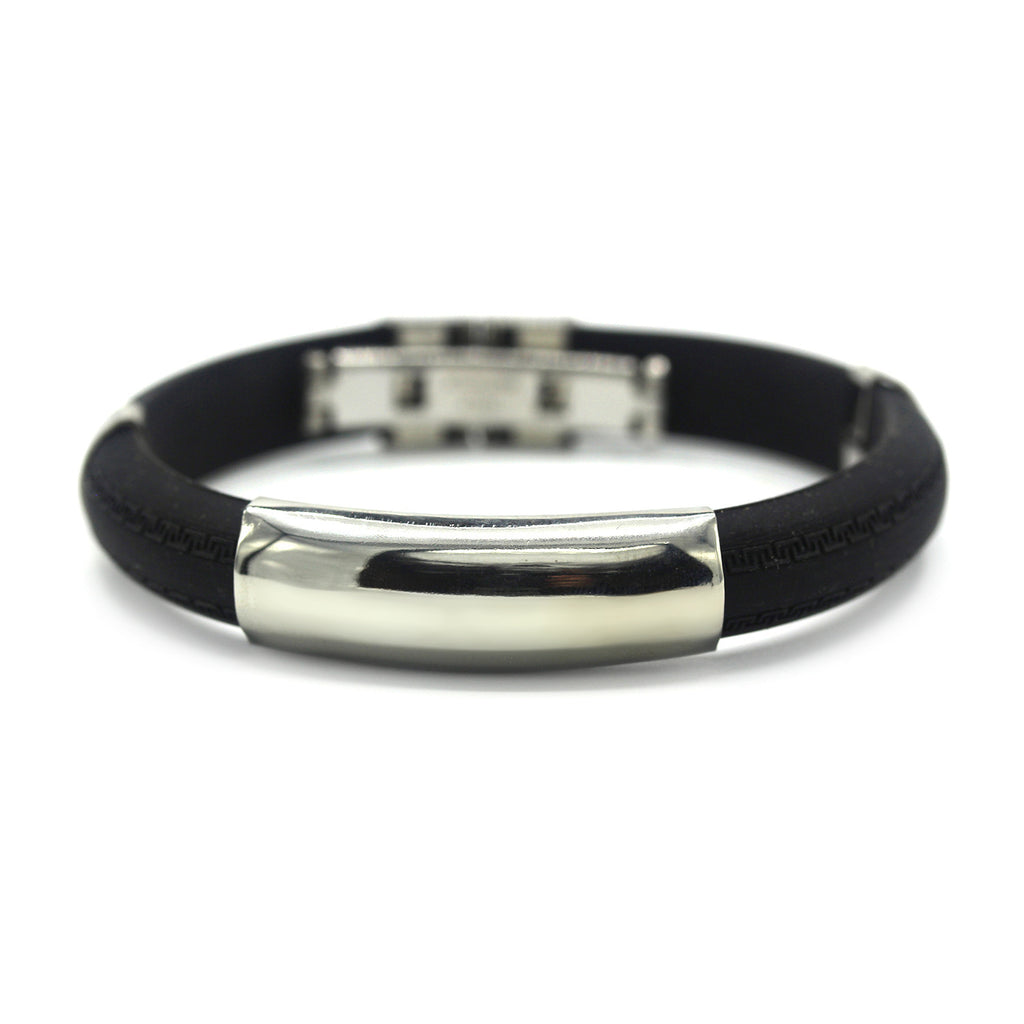Modest Rubber Bracelet Stainless Steel Accents Dual Hinge Clasp (Silver)