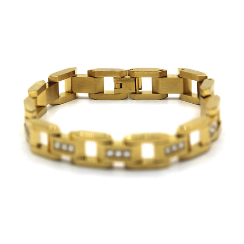 Fancy Men's Stainless Steel Bracelet Fashion Wrist Band CZ (Gold)