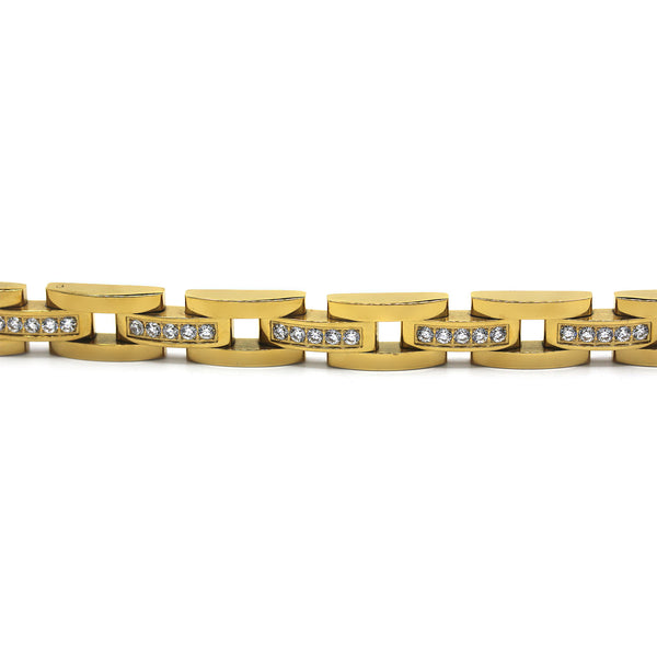 Elaborate Men's Stainless Steel Bracelet Fashion Wrist Band CZ (Gold)