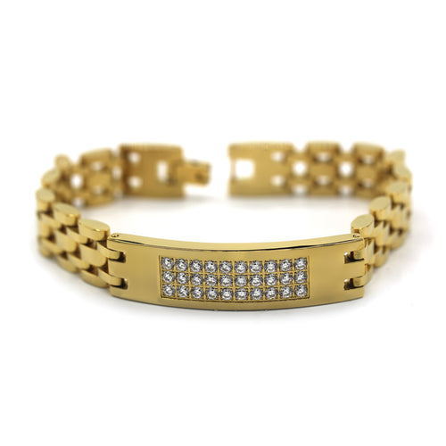 Decorative Men's Stainless Steel Bracelet Fashion Wrist Band CZ (Gold)