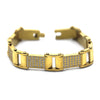 Ornate Men's Stainless Steel Bracelet Fashion Wrist Band CZ (Gold)