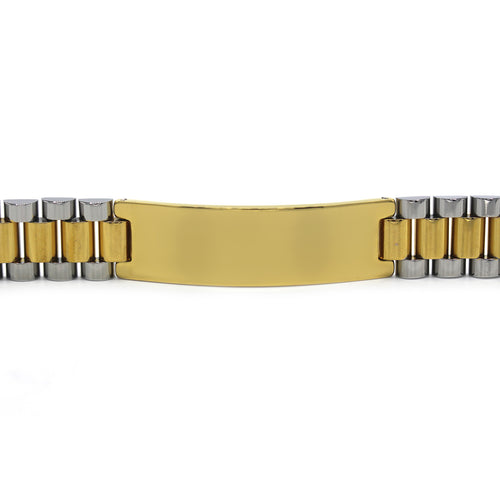Decorative Men's Stainless Steel ID Bracelet (2 tone)