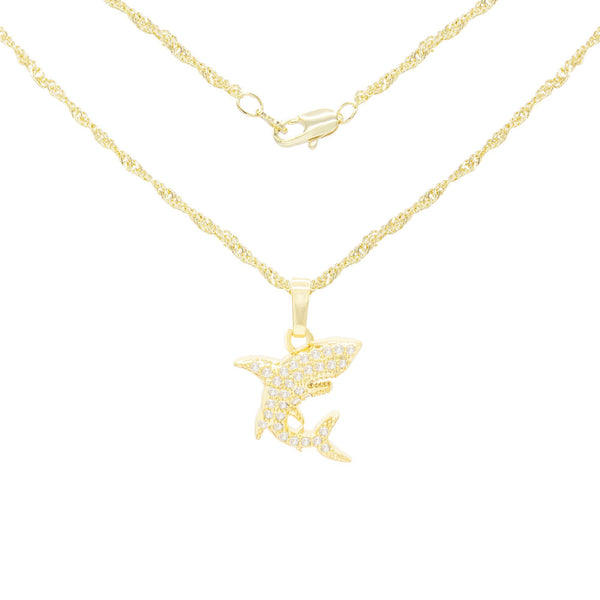 Shark Cubic Zirconia Pendant With Necklace Set 14K Gold Filled