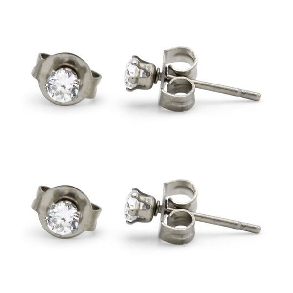 Stud Earring Set of 2 Cubic Zirconia Earrings Shinny Unisex Silver Round Ear Jewelry