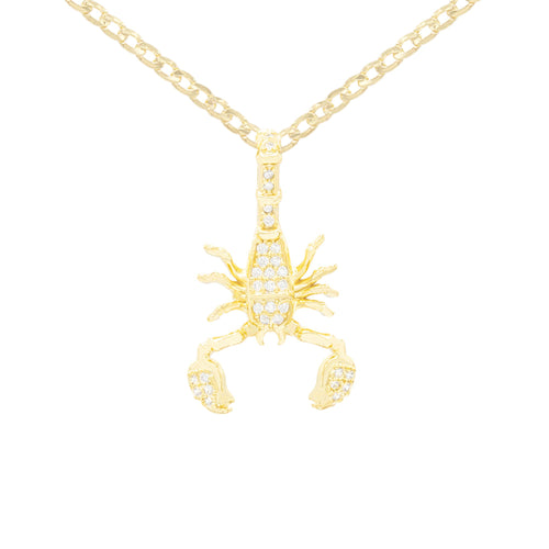 Scorpion Cubic Zirconia Pendant With Necklace Set 14K Gold Filled