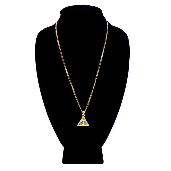 Cubic Zirconia Pyramid-Ankh Charm Necklace Stainless Steel Bling CZ