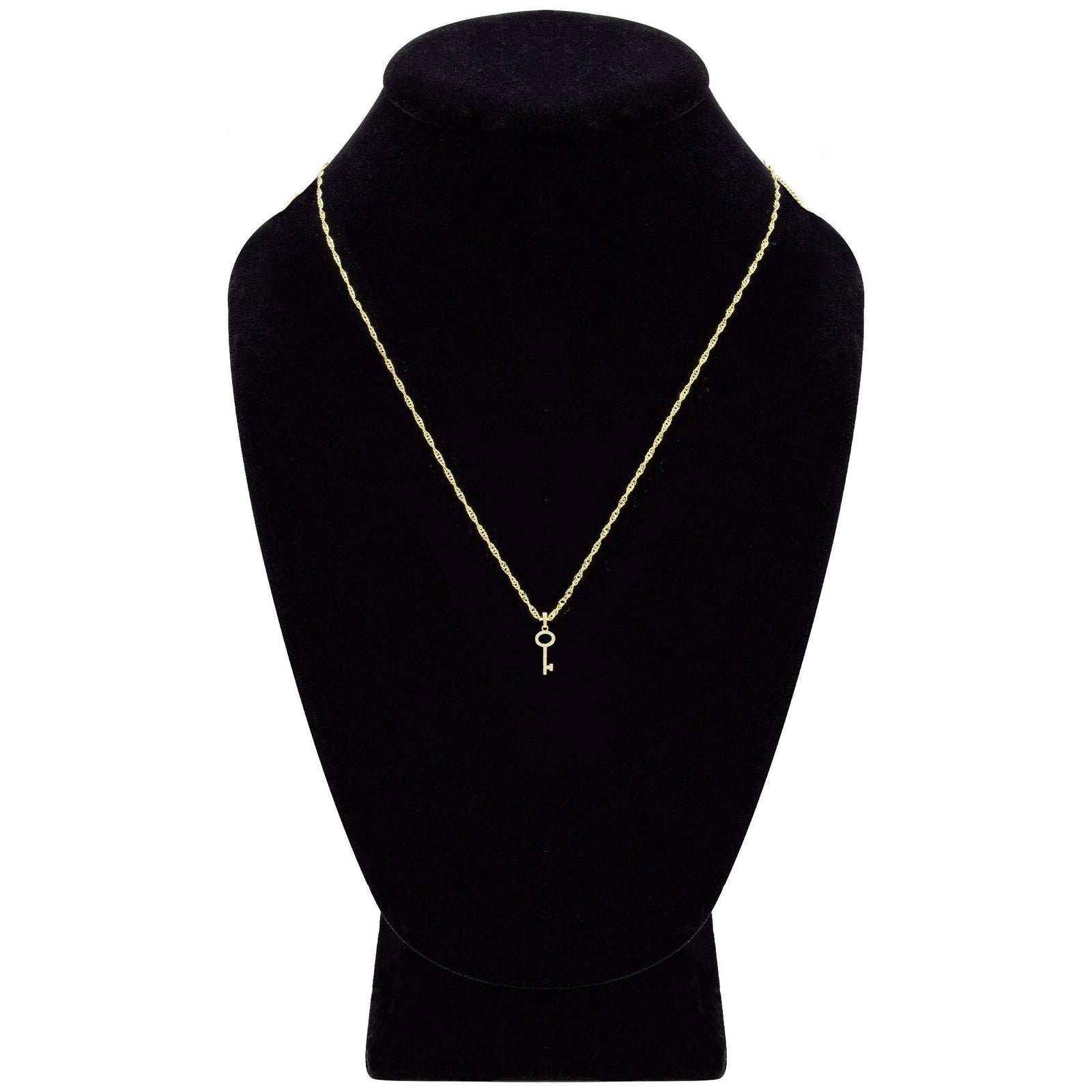 Key Cubic Zirconia Pendant With Necklace Set 14K Gold Filled