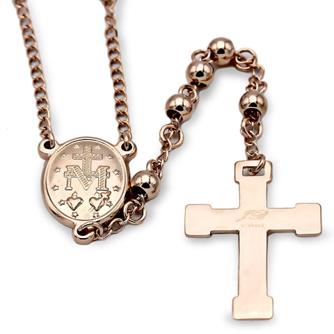 Traditional Rosary Necklace Five Decade Stainless Steel Catholic Prayer Beads (Rose Gold) 5mm