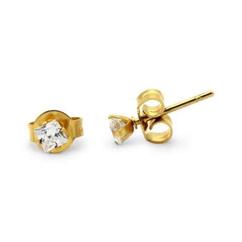 Stud Earrings Square Cubic Zirconia 14K Gold Plated Stainless Steel CZ Ear Piercing