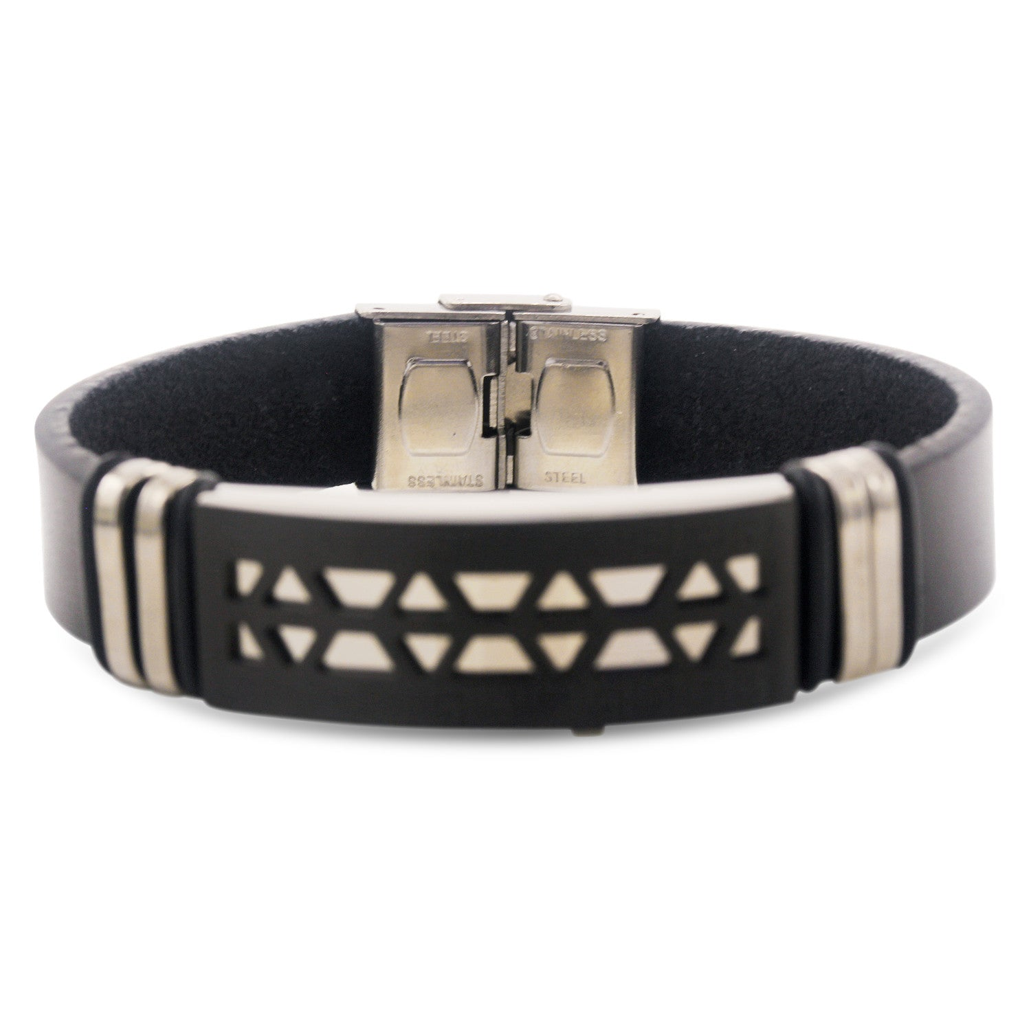 Stainless Steel Black Two Tone Design Leather Bracelet