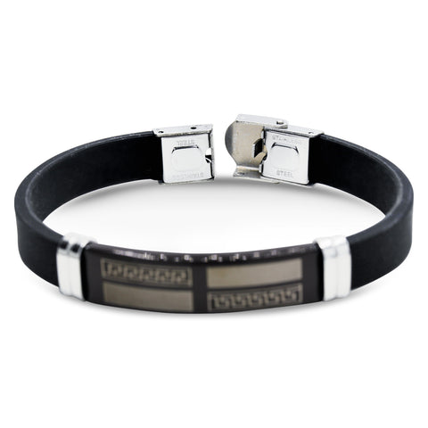 Stainless Steel Black Two Tone Design Rubber Bracelet