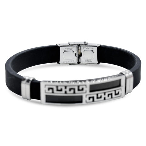 Stainless Steel Black Silver Plated Two Tone Design Rubber Bracelet