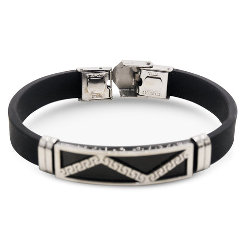 Stainless Steel Black Silver Plated Two Tone Rubber Bracelet