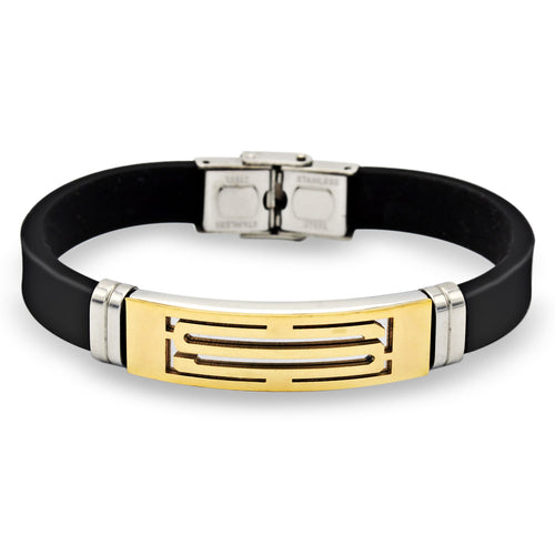 Stainless Steel Two Tone S Design Rubber Bracelet