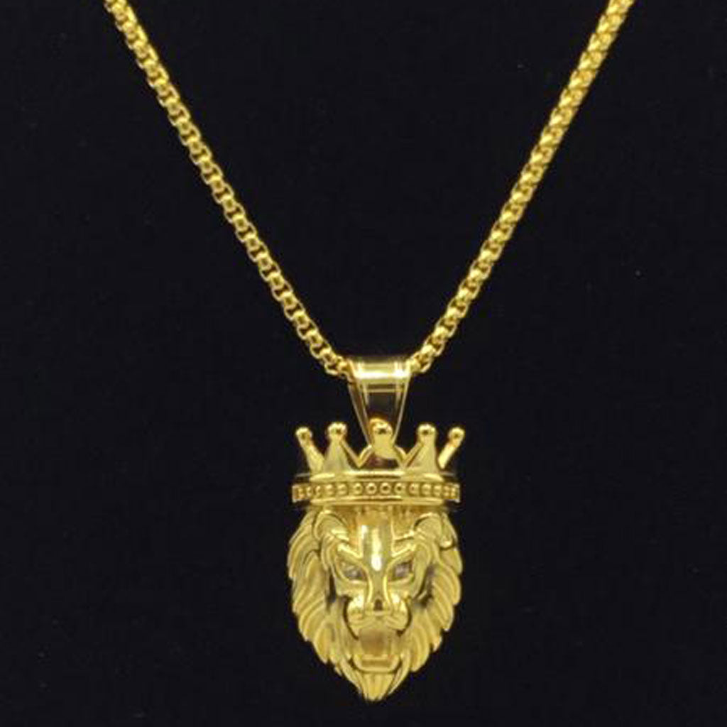 18K Gold Stainless Steel Box Chain with Crowned Lion Cubic Zirconia Eyes