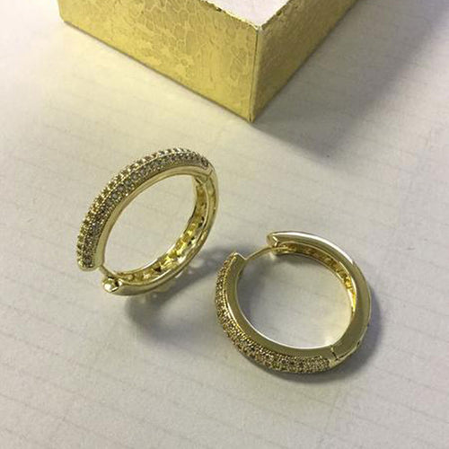 14K Gold Filled Huggies Hoop Earrings Full Of AAA CZ Stone 30mm For Woman