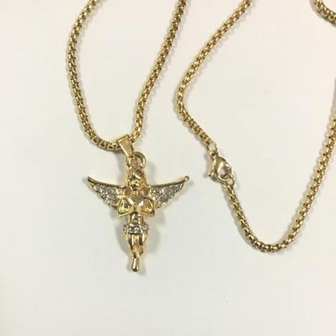 Gold plated Box Necklace Stainless Steel with Cubic Zirconia Angel Pendant