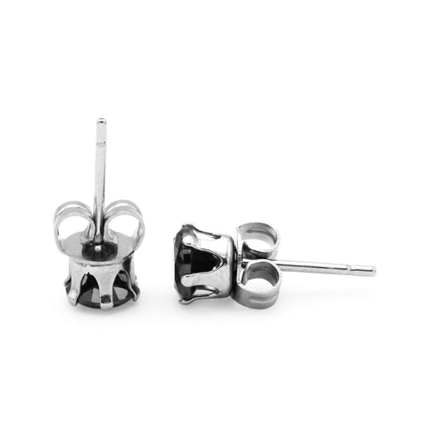 8mm round Black Stud Earring For Men