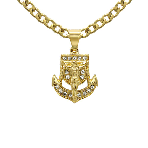 Anchor Cubic Zirconia Pendant with Necklace Set 14K Gold Plated