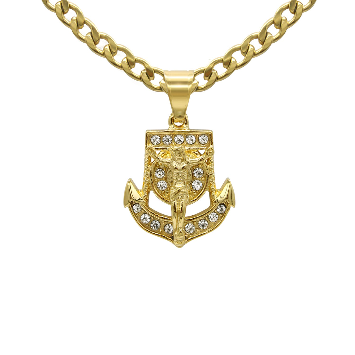 Anchor Pendant Cubic Zirconia 14K Gold Plated Stainless Steel