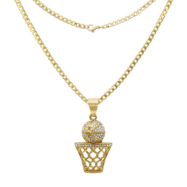 Basketball Cubic Zirconia Pendant with Necklace Set 14K Gold Plated