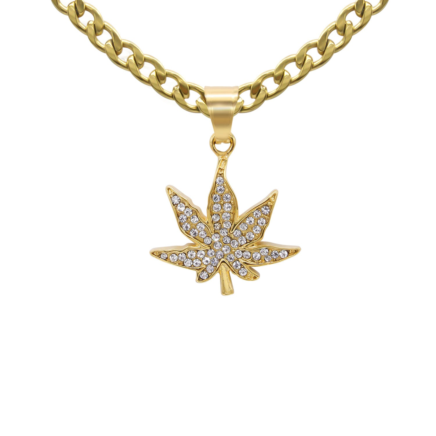 Cannabis Pendant Cubic Zirconia 14K Gold Plated Stainless Steel