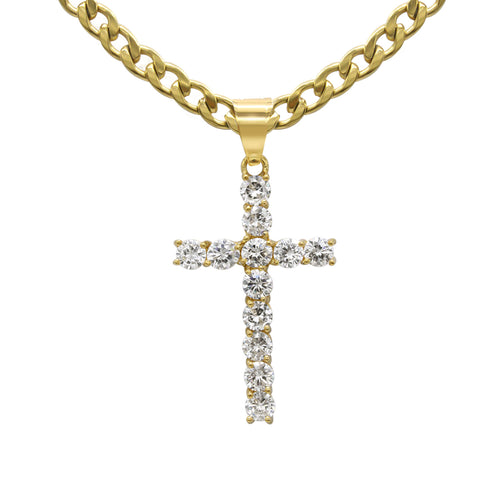 Cross Pendant with Necklace Set Cubic Zirconia 14K Gold Plated