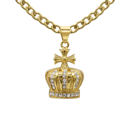 Crown 1 Pendant Cubic Zirconia 14K Gold Plated Stainless Steel