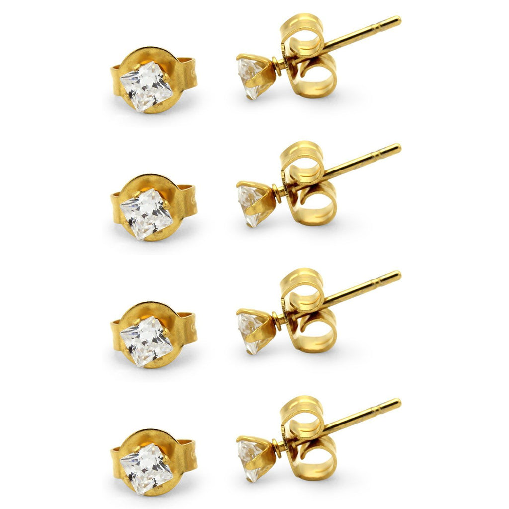 Stud Earring Set of 4 Cubic Zirconia Earrings Shinny Unisex Gold Square Ear Jewelry