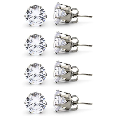 Stud Earring Set of 4 Cubic Zirconia Earrings Shinny Unisex Silver Round Ear Jewelry