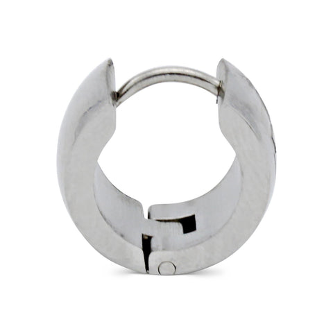 Huggie Hoop Earrings Stainless Steel Cross Design Pattern