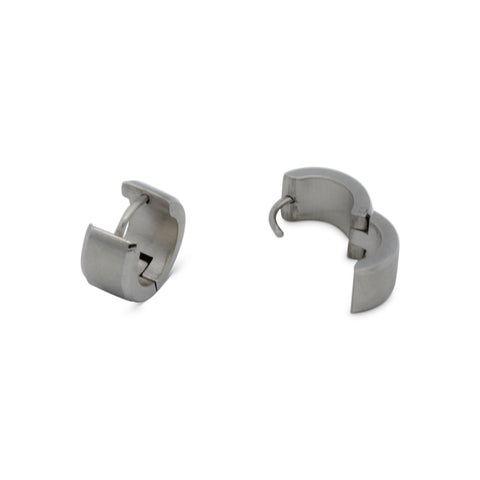 Huggie Hoop Earrings Stainless Steel with Beveled Edge