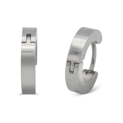 Huggie Hoop Earrings Stainless Steel Plain & Rounded Design