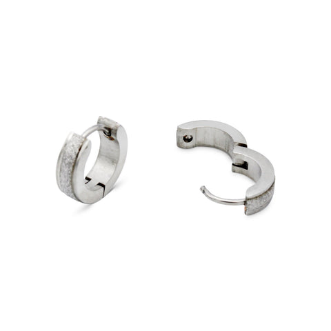 Huggie Hoop Earrings Stainless Steel Sandblasted Texture