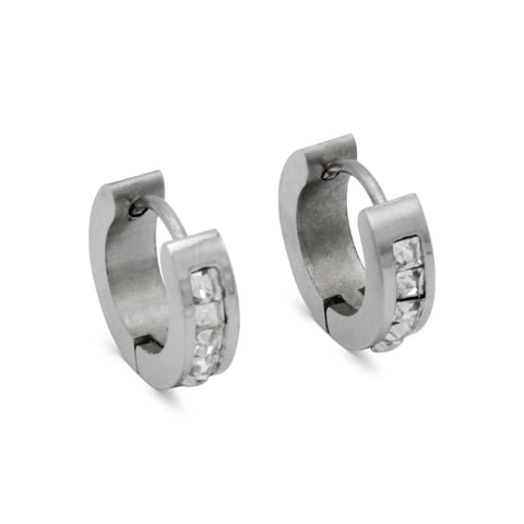 Huggie Hoop Earrings Cubic Zirconia Stainless Steel Fashion Jewelry