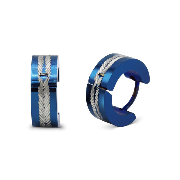 Huggie Hoop Earrings Stainless Steel Blue Designs