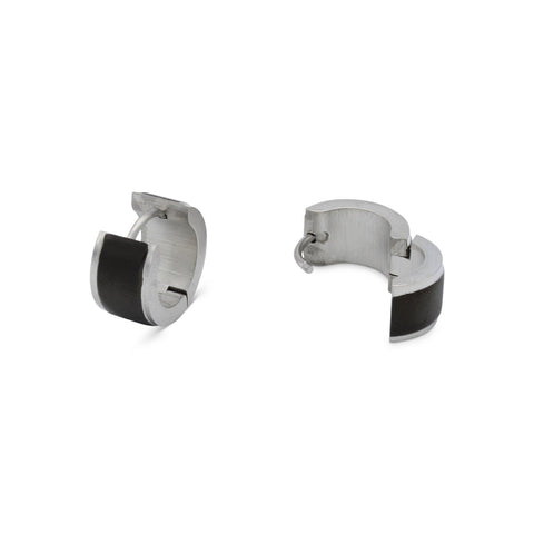 Huggie Hoop Earrings Stainless Steel with Black Stripes Design