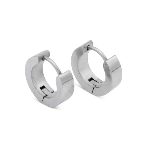 Huggie Hoop Earrings Stainless Steel with Black Design
