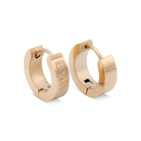 Huggie Hoop Earrings Stainless Steel Fashion Jewelry with Roman Numeral Design