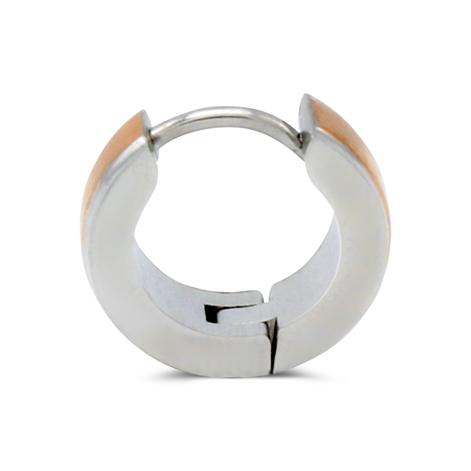 Huggie Hoop Earrings Stainless Steel with Rose Gold Stripes