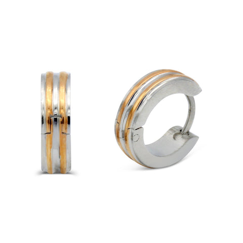 Huggie Narrow Striped Hoop Earrings Stainless Steel Fashion Jewelry
