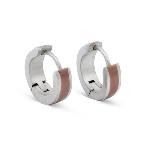 Huggie Hoop Earrings Stainless Steel with Deep Rose Gold Stripes
