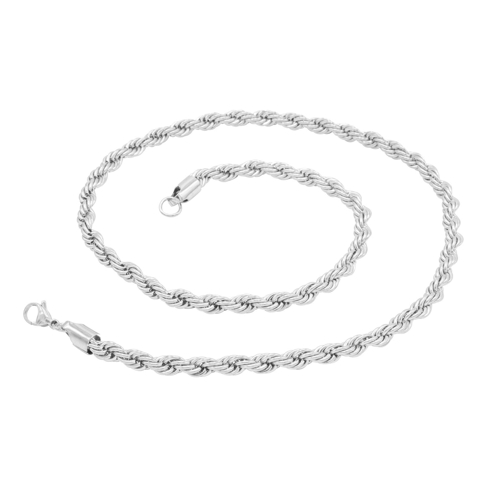 "Rope Chain Necklace Silver Stainless Steel Twisted Link Fashion Jewelry for Men 18"" 20"" 24"" 30"" Length 