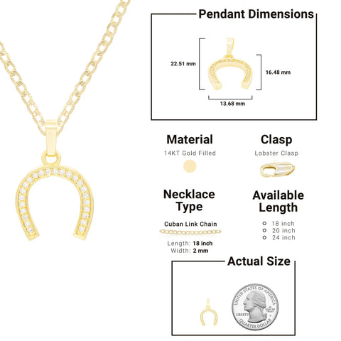 Horse Shoe Cubic Zirconia Pendant With Necklace Set 14K Gold Filled